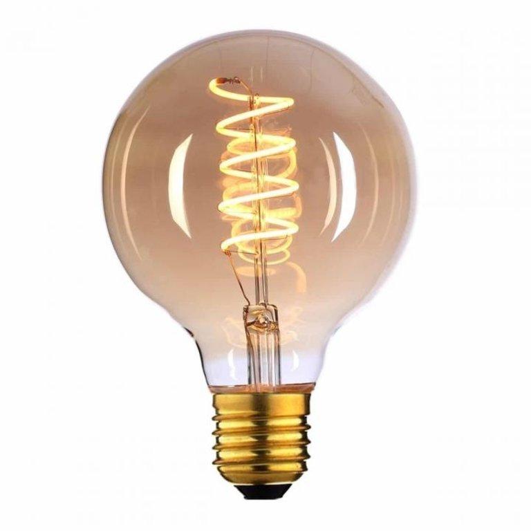 Highlight E27 LED filamentlamp - globe 80 - 4W dimbaar - amber