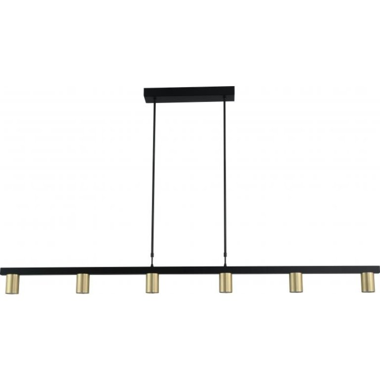 Masterlight Hanglamp Bounce 6lichts zwart met mat goud 160 cm