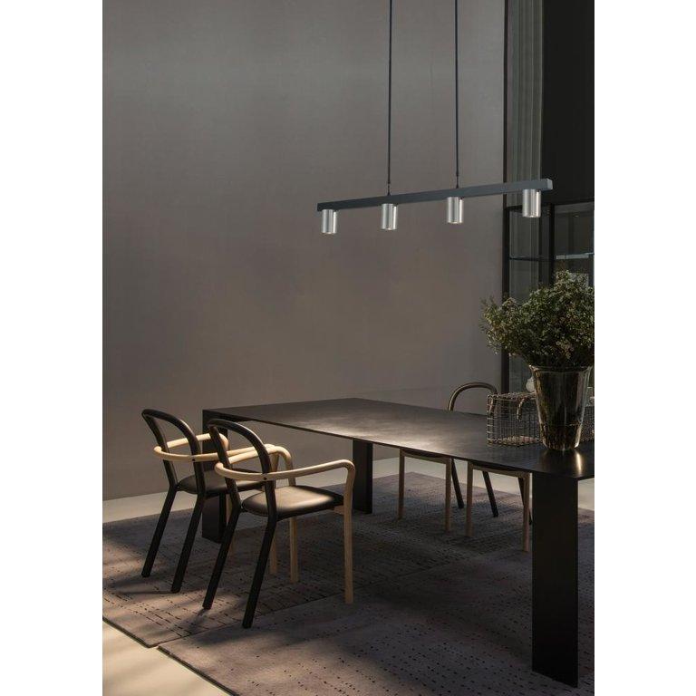 Masterlight Hanglamp Bounce 4lichts zwart met mat nikkel 100 cm