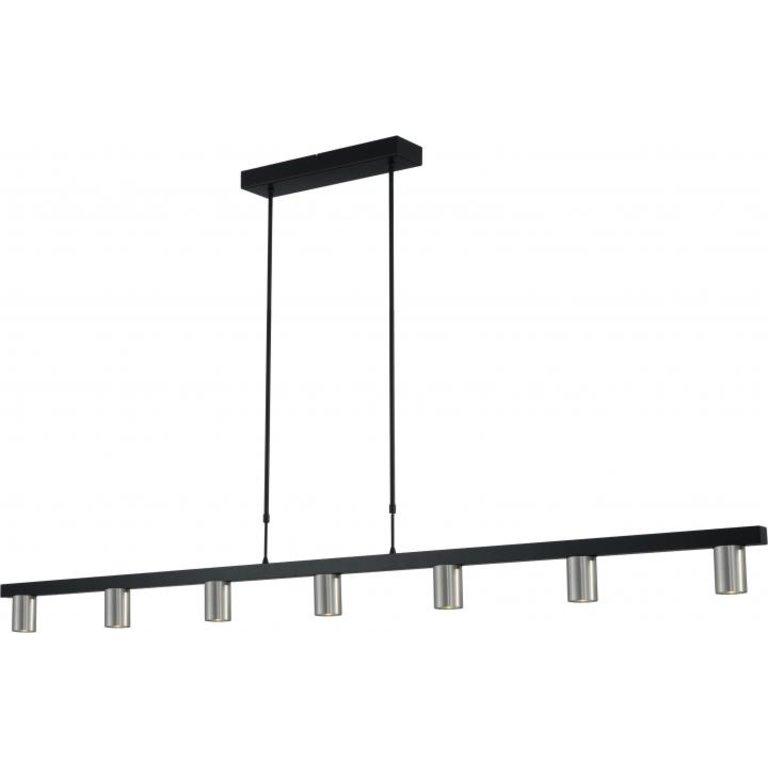 Masterlight Hanglamp Bounce 7lichts zwart met mat nikkel 180 cm