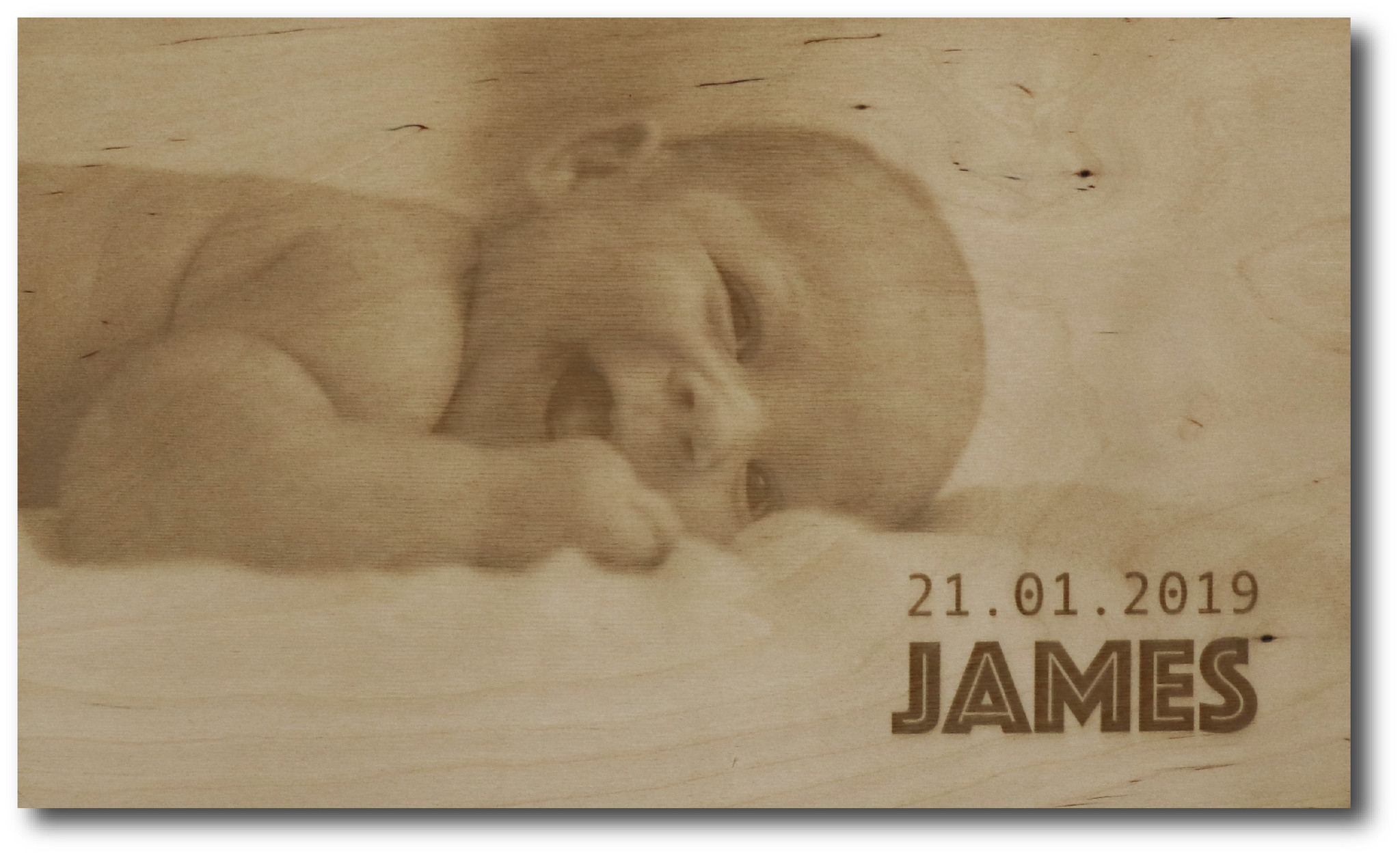 ENGRAVED PHOTO ON WOOD BABY