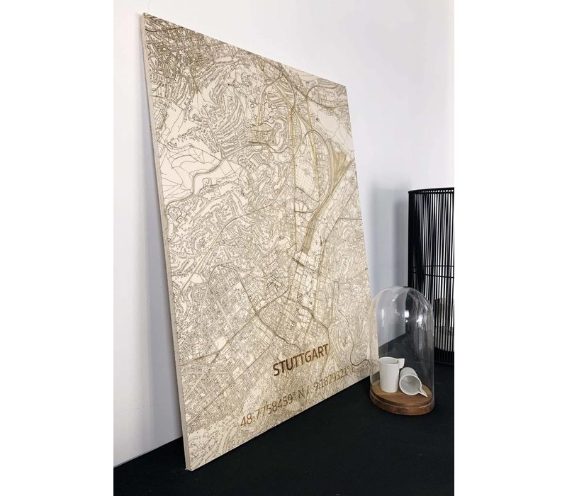 Stadtkarte Stuttgart | Wanddekoration Holz