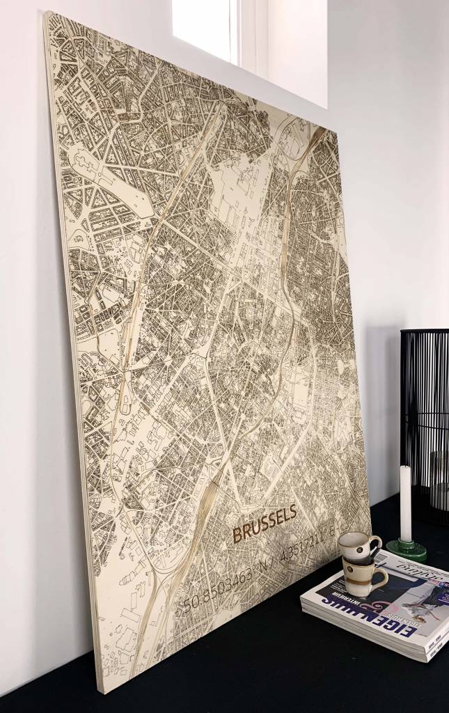 Wall decoration Citymap Brussel | Wooden wall panel-2
