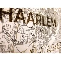 WOODEN WALL DECORATION HAARLEM CITYMAP