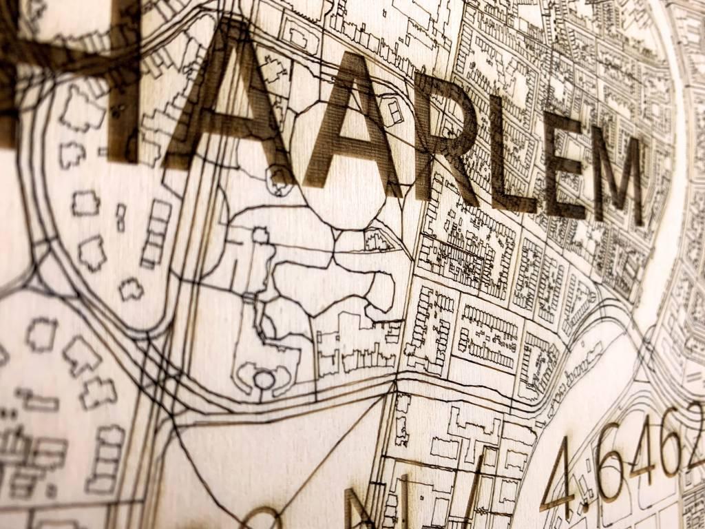 Stadtplan Haarlem | Wanddekoration Holz-3