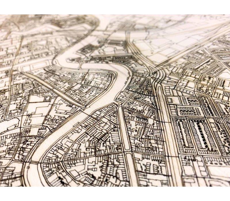 Stadtplan Haarlem | Wanddekoration Holz