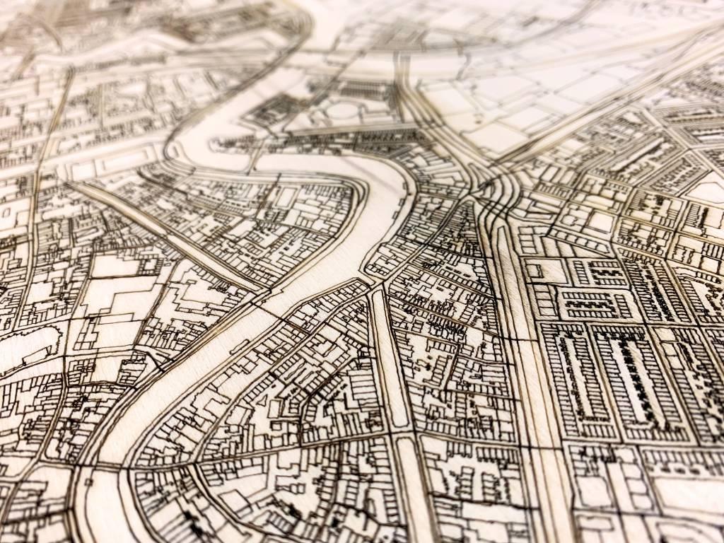 Stadtplan Haarlem | Wanddekoration Holz-4