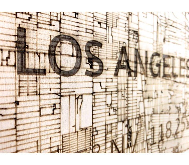 Stadtplan Los Angeles | Wanddekoration Holz
