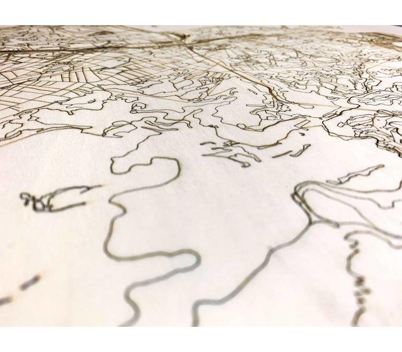Citymap Rio de Janeiro  | houten wanddecoratie