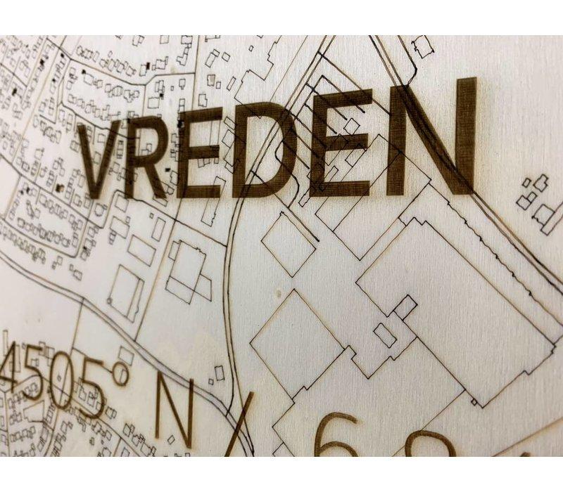Stadtkarte Vreden | Wanddekoration Holz