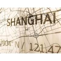 Citymap Shanghai | houten wanddecoratie