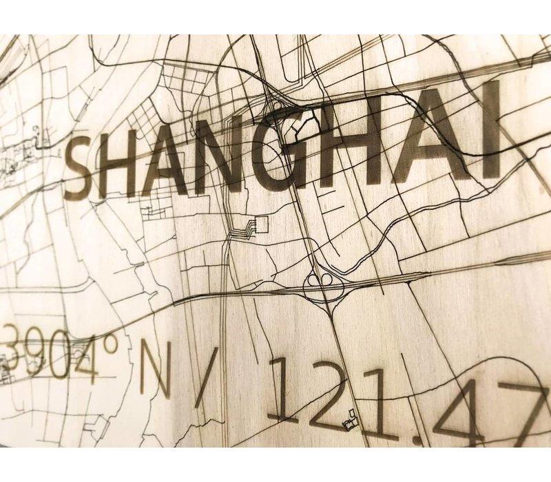 Stadtplan Shanghai | Wanddekoration Holz