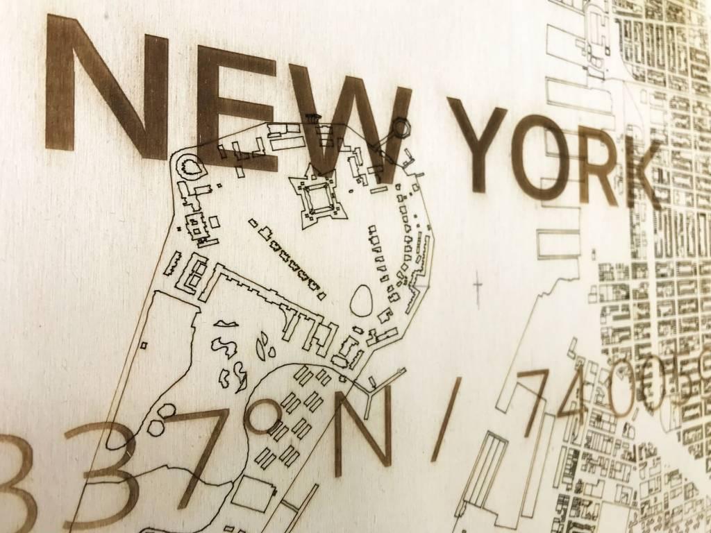 Stadtplan New York | Wanddekoration Holz-3