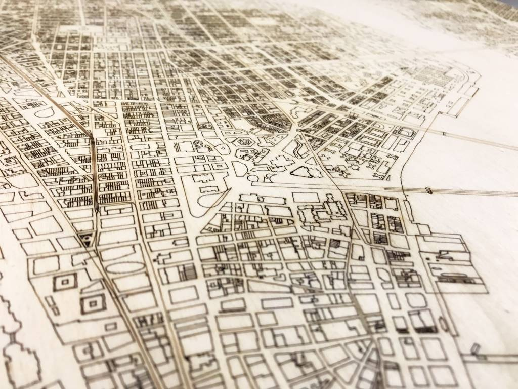 Stadtplan New York | Wanddekoration Holz-4