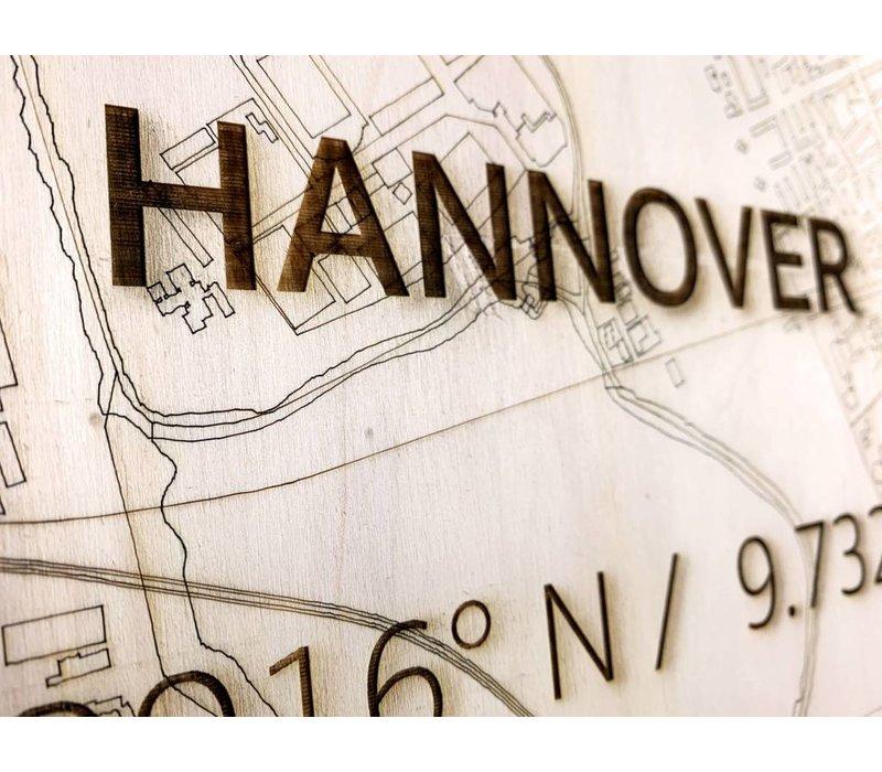 Stadtplan Hannover | Wanddekoration Holz