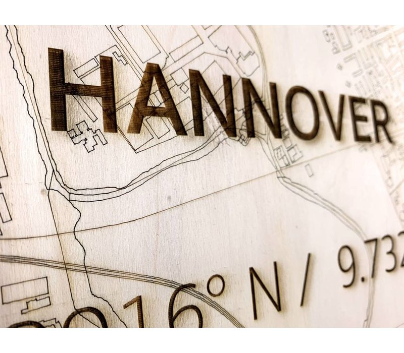 WOODEN WALL DECORATION HANNOVER CITYMAP