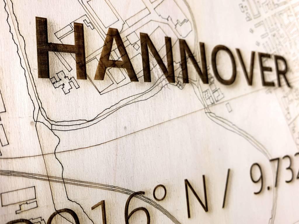 Stadtkarte Hannover | Wanddekoration Holz-3