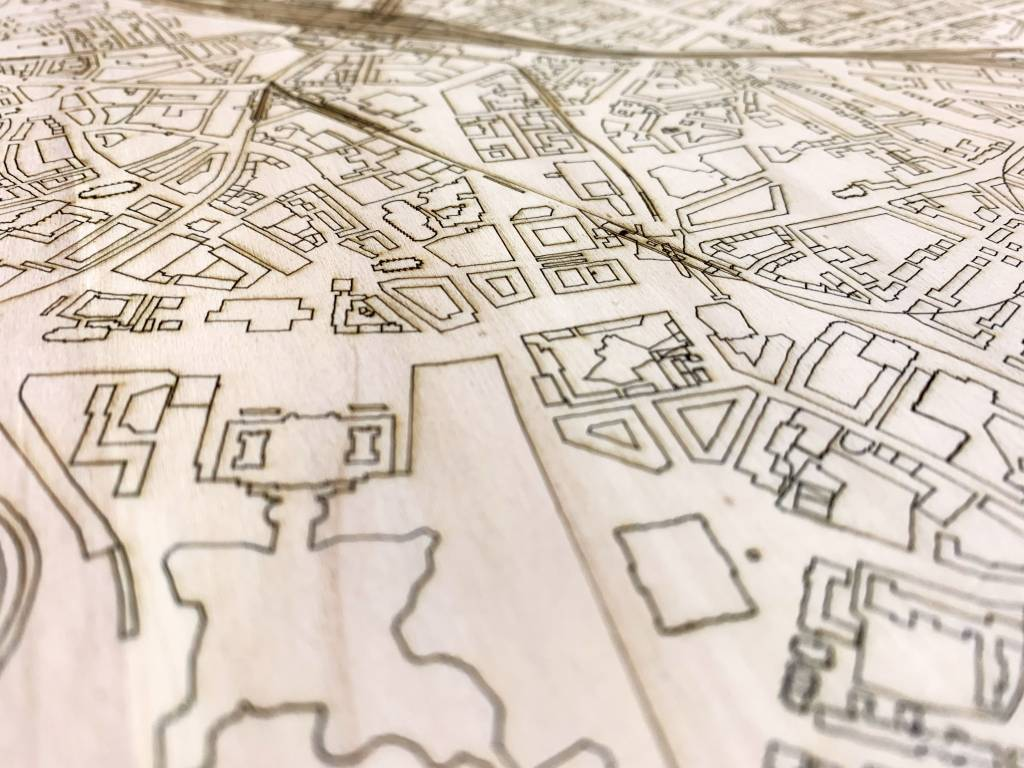 Stadtkarte Hannover | Wanddekoration Holz-4