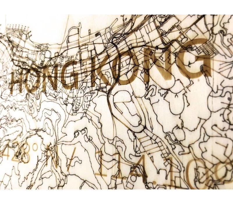Citymap Hong Kong | houten wanddecoratie