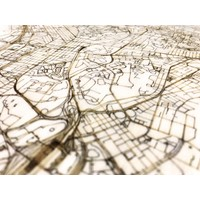 Stadtplan Hong Kong | Wanddekoration Holz