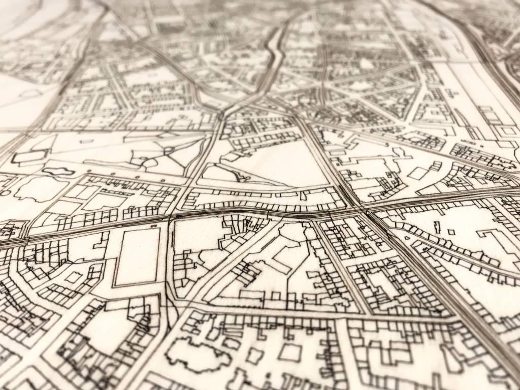 Stadtkarte Düsseldorf | Wanddekoration Holz-3
