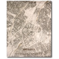 Stadtplan Brüssel | Wanddekoration Holz