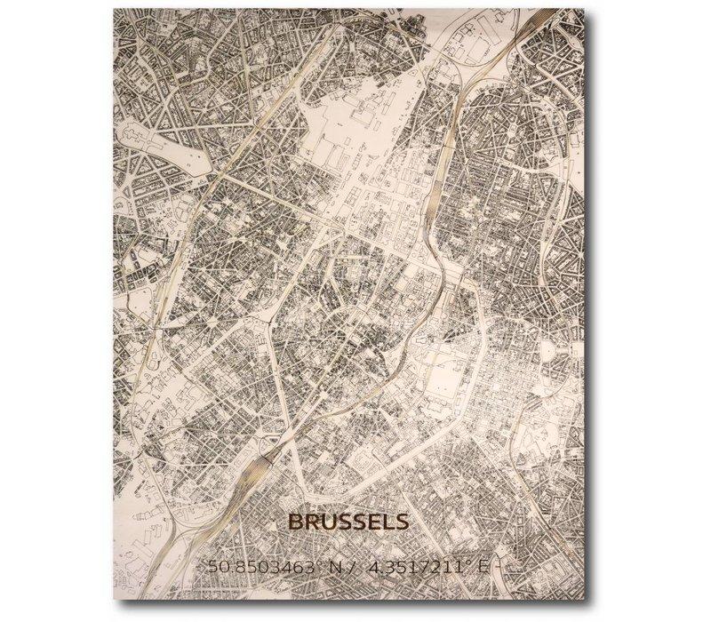 Citymap Brussel | houten wanddecoratie