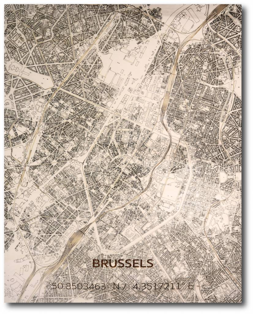 Wall decoration Citymap Brussel | Wooden wall panel-1