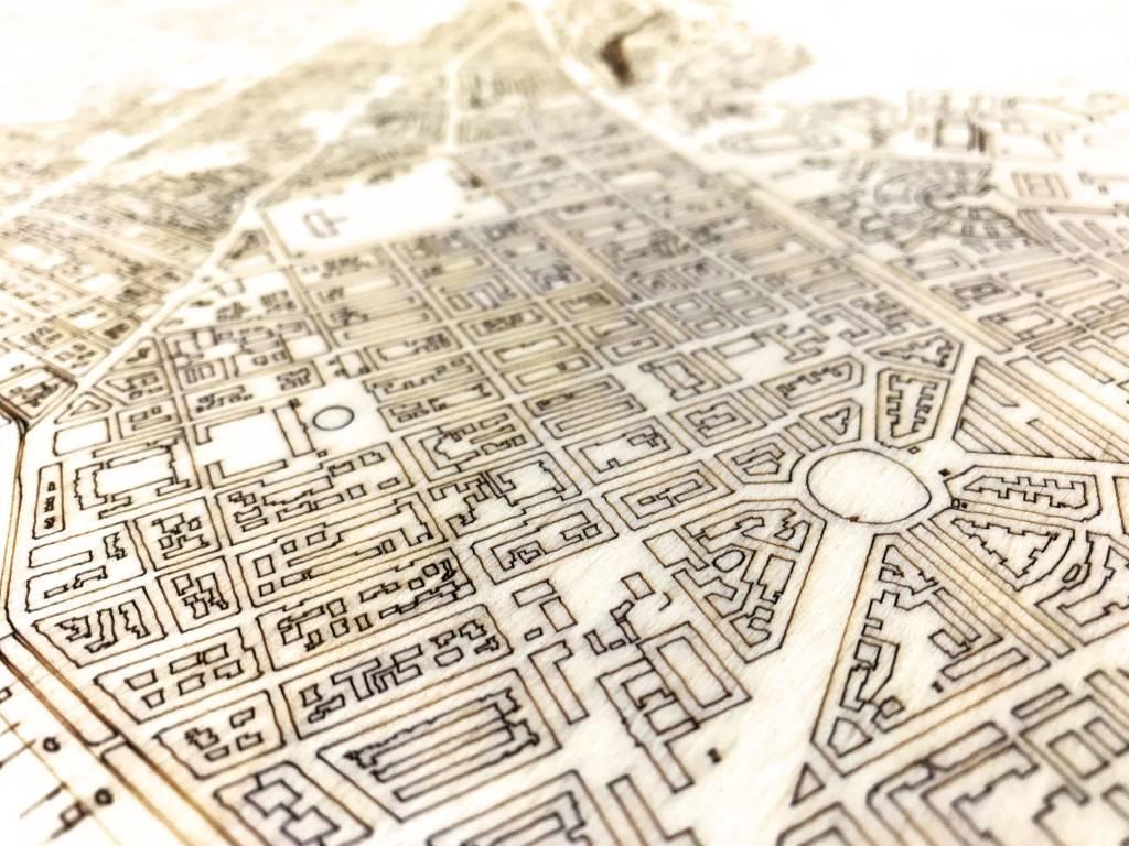 Stadtplan Stockholm | Wanddekoration Holz-3