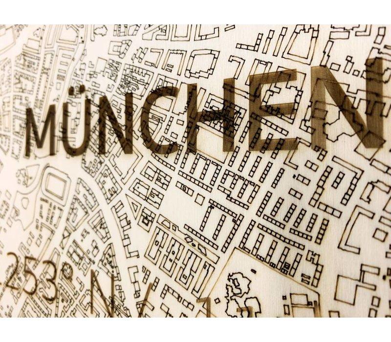 Stadtkarte München | Wanddekoration Holz