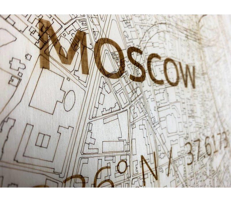 Stadtplan Moskau | Wanddekoration Holz