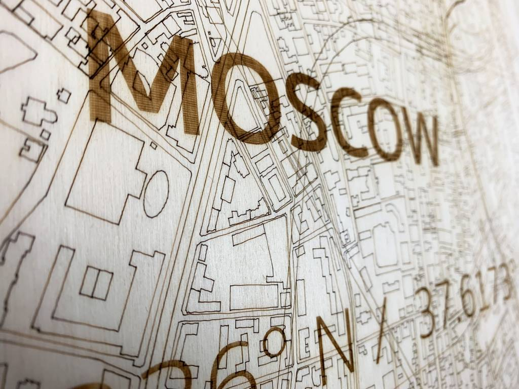 Stadtplan Moskau | Wanddekoration Holz-3