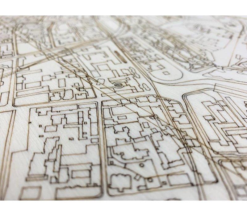 Citymap Moskou | houten wanddecoratie