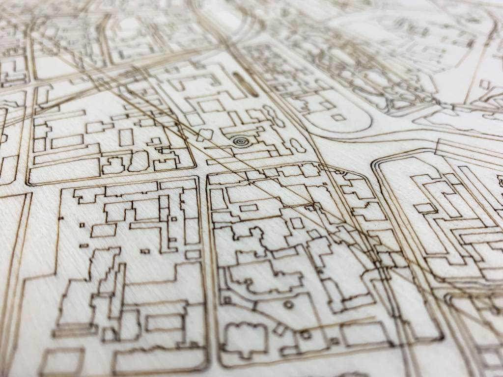 Stadtplan Moskau | Wanddekoration Holz-4