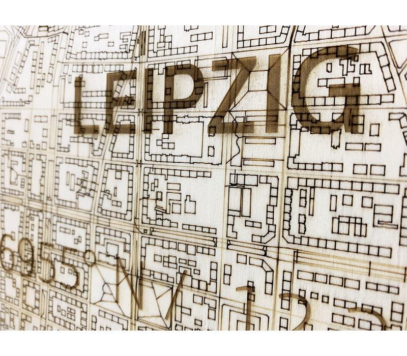Stadtplan Leipzig   Wanddekoration Holz