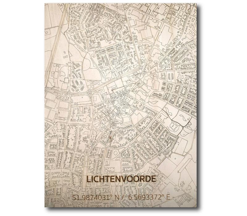 Stadtplan Lichtenvoorde | Wanddekoration Holz