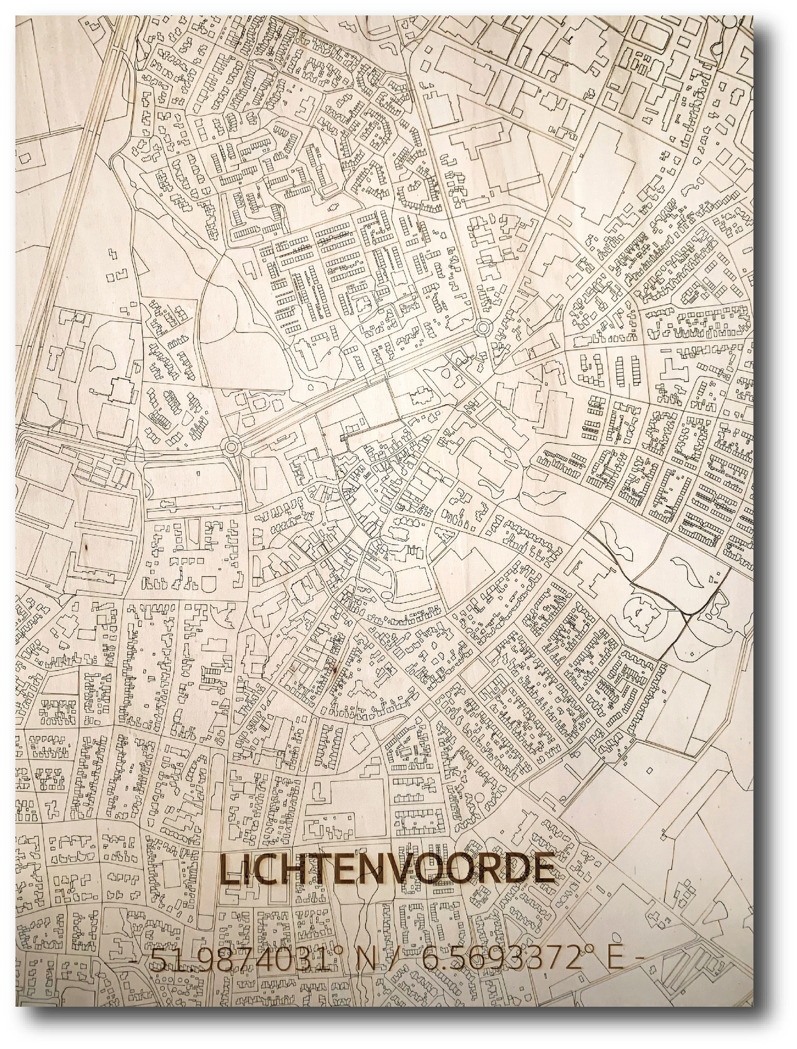 WOODEN WALL DECORATION LICHTENVOORDE CITYMAP-1