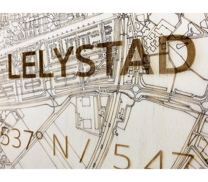 WOODEN WALL DECORATION Lelystad CITYMAP