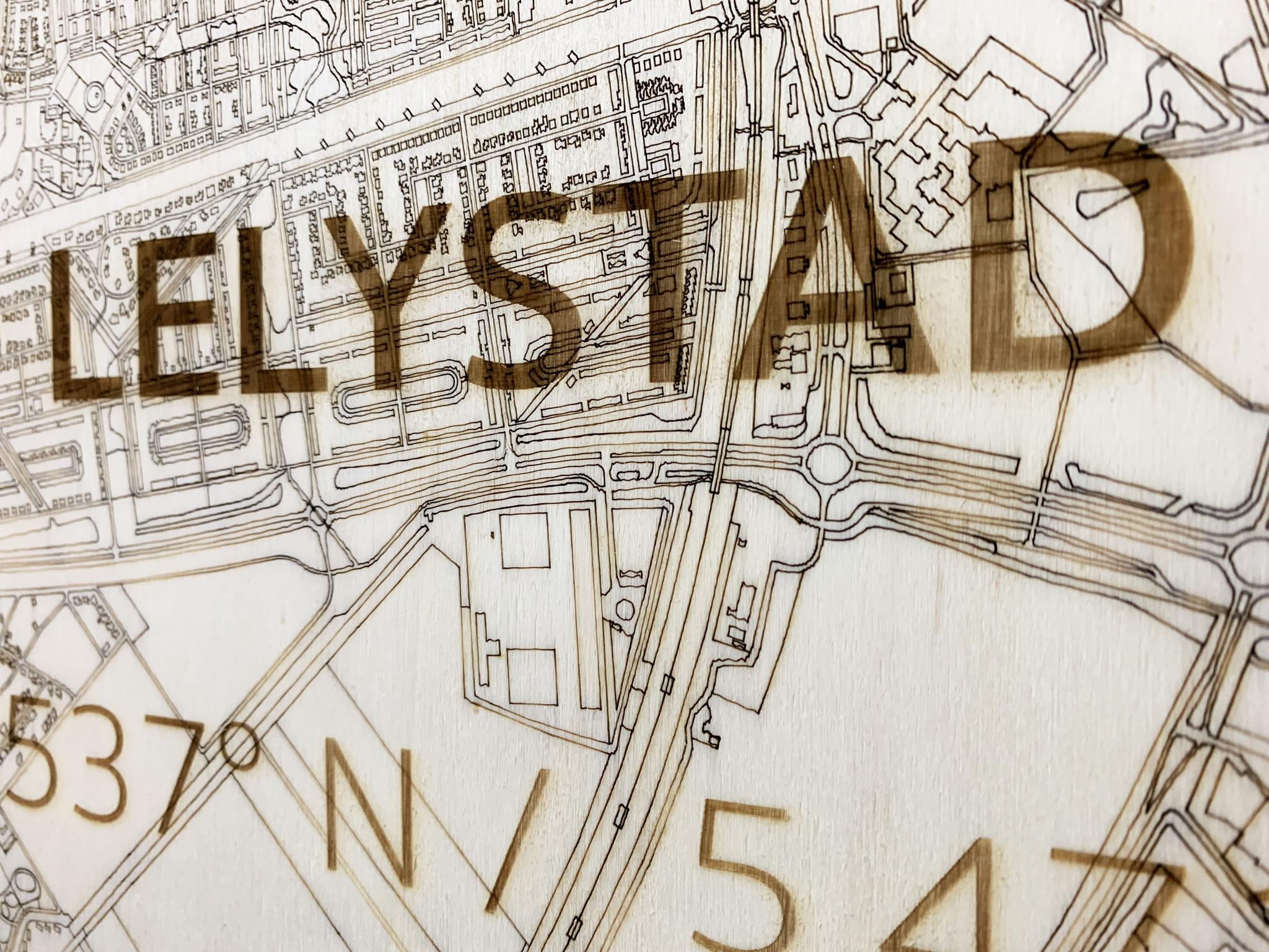 Citymap Lelystad | houten wanddecoratie-3