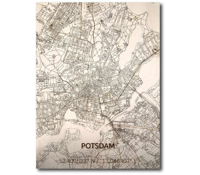 Stadtplan Potsdam | Wanddekoration Holz