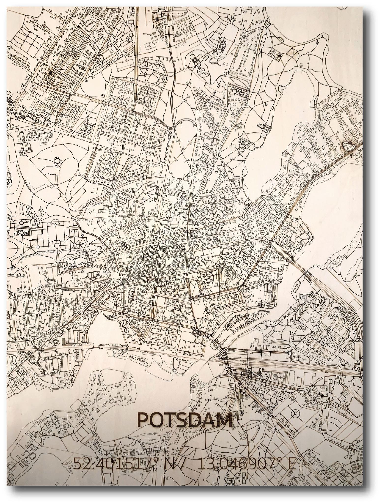 WOODEN WALL DECORATION Potsdam CITYMAP-1