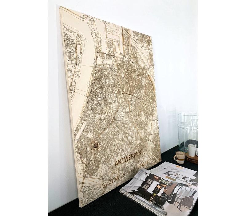 Stadtplan Antwerpen | Wanddekoration Holz