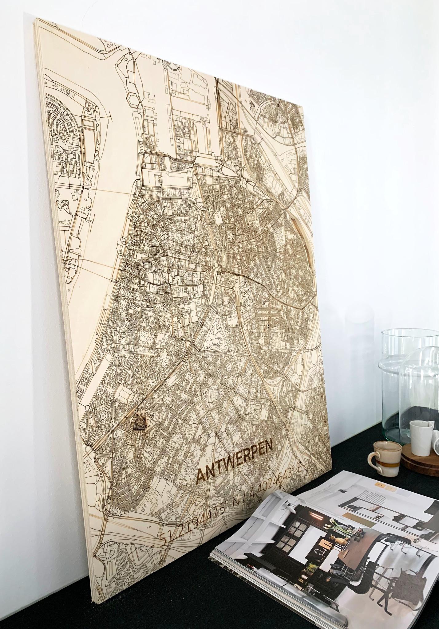 Citymap Antwerpen | wooden wall decoration-2