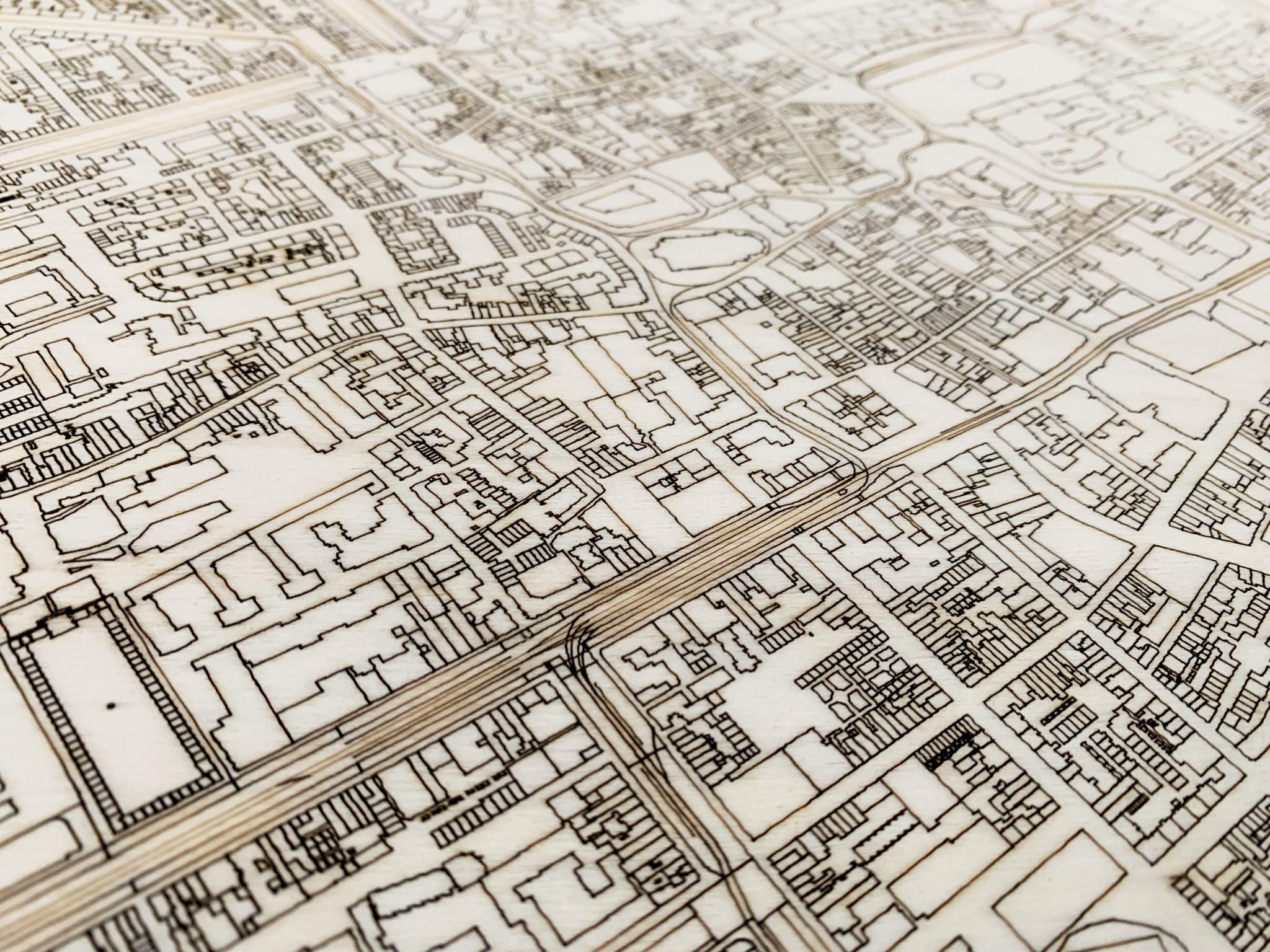 Stadtplan Den Haag | Wanddekoration Holz-4