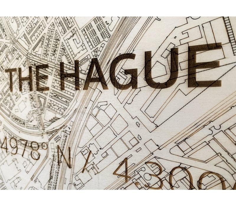 WOODEN WALL DECORATION THE HAGUE CITYMAP