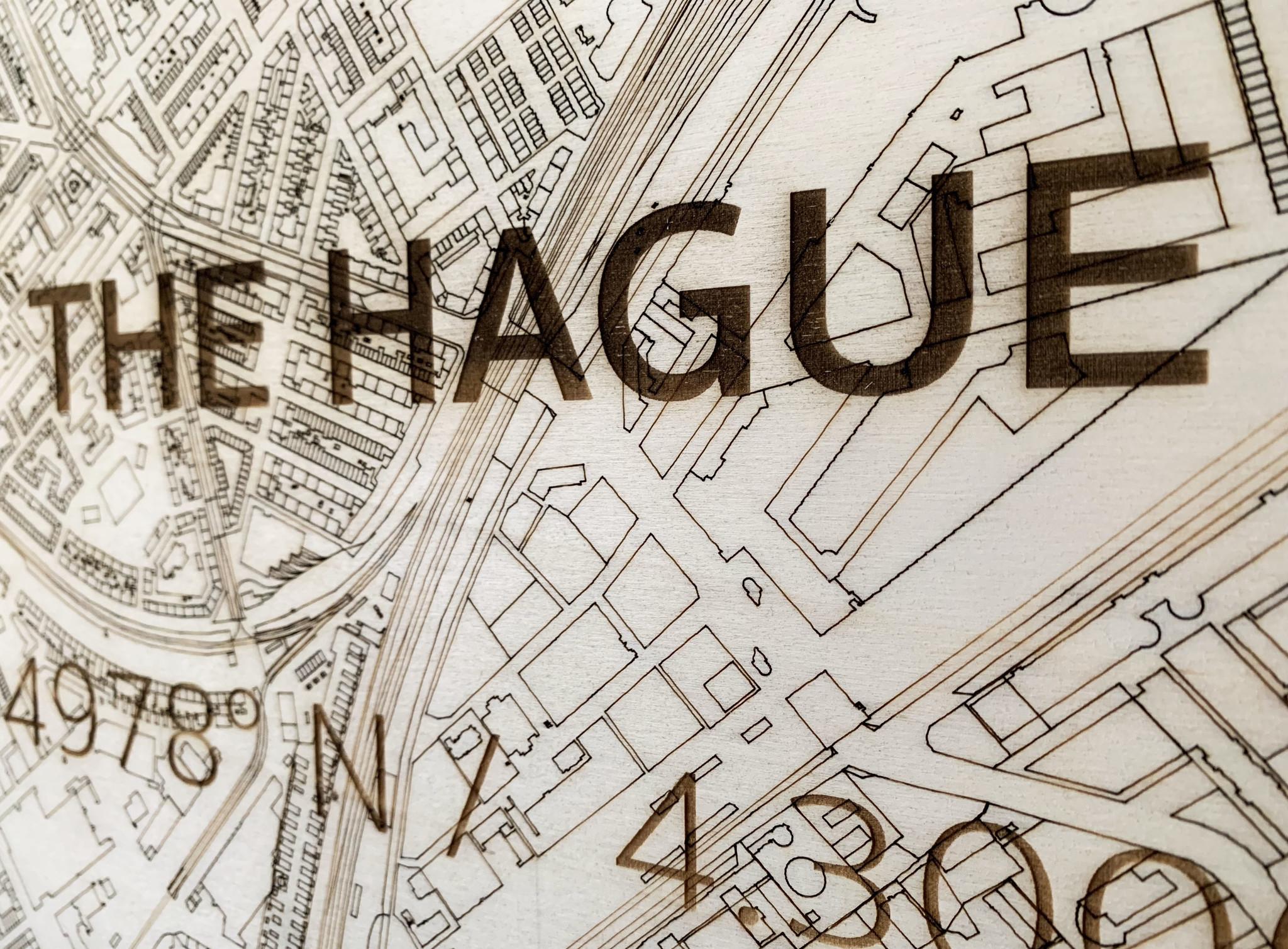 Stadtplan Den Haag | Wanddekoration Holz-3