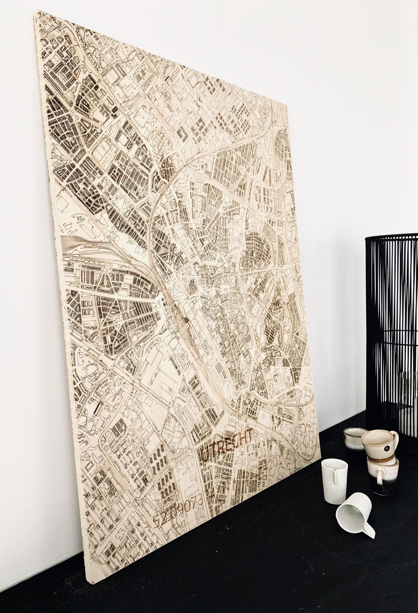 Wall decoration Citymap Utrecht | Wooden wall panel-2
