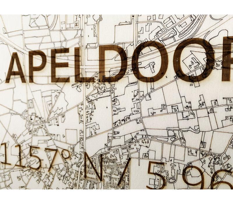 WOODEN WALL DECORATION Apeldoorn CITYMAP