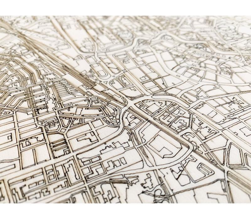 Stadtplan Leeuwarden | Wanddekoration Holz