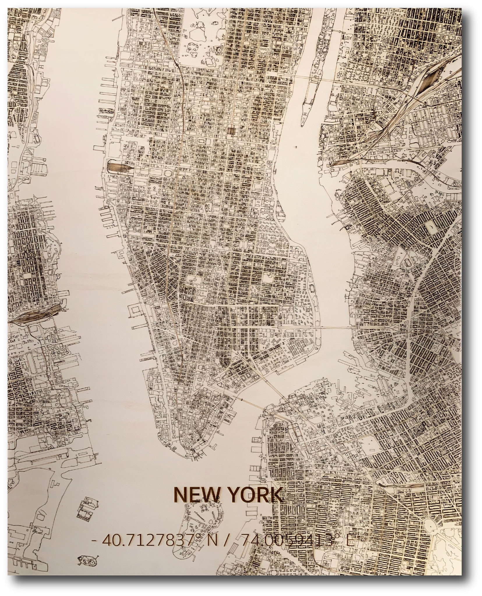 Stadtplan New York | Wanddekoration Holz-1